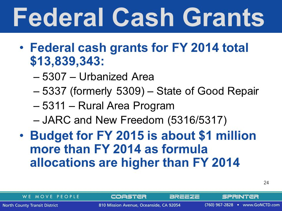 24 Federal Cash Grants Federal cash grants for FY 2014 total $13,839,343: –5307 – Urbanized Area –5337 (formerly 5309) – State of Good Repair –5311 – Rural Area Program –JARC and New Freedom (5316/5317) Budget for FY 2015 is about $1 million more than FY 2014 as formula allocations are higher than FY 2014