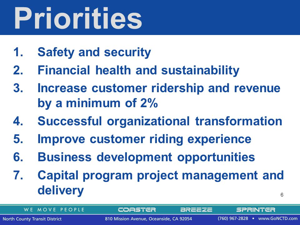 6 Priorities 1.Safety and security 2.Financial health and sustainability 3.Increase customer ridership and revenue by a minimum of 2% 4.Successful organizational transformation 5.Improve customer riding experience 6.Business development opportunities 7.Capital program project management and delivery