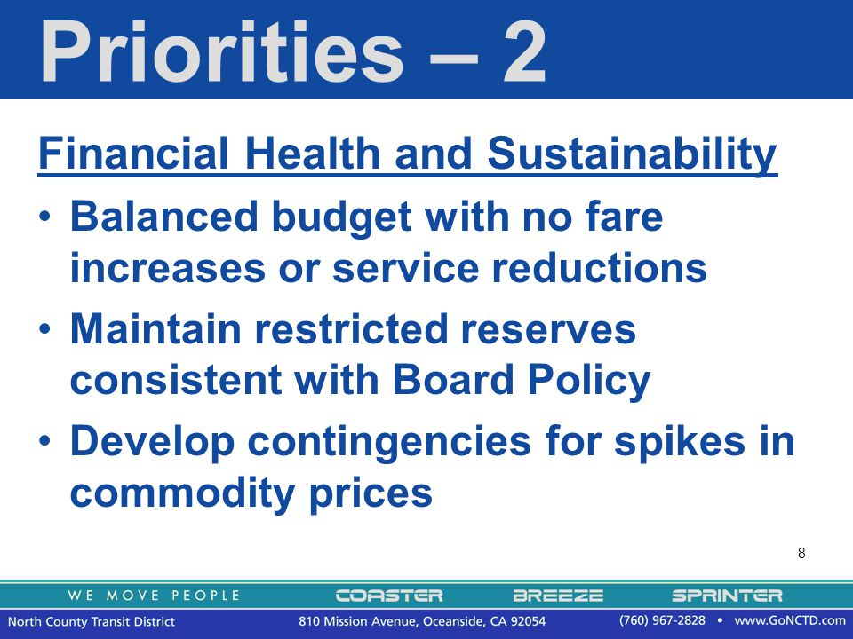9 Priorities – 3 Increase customer ridership and revenue by a minimum of 2% Continue Amtrak Rail to Rail (R2R) program Assess the effect of the Mobility Plan on BREEZE operations Improve revenue collection