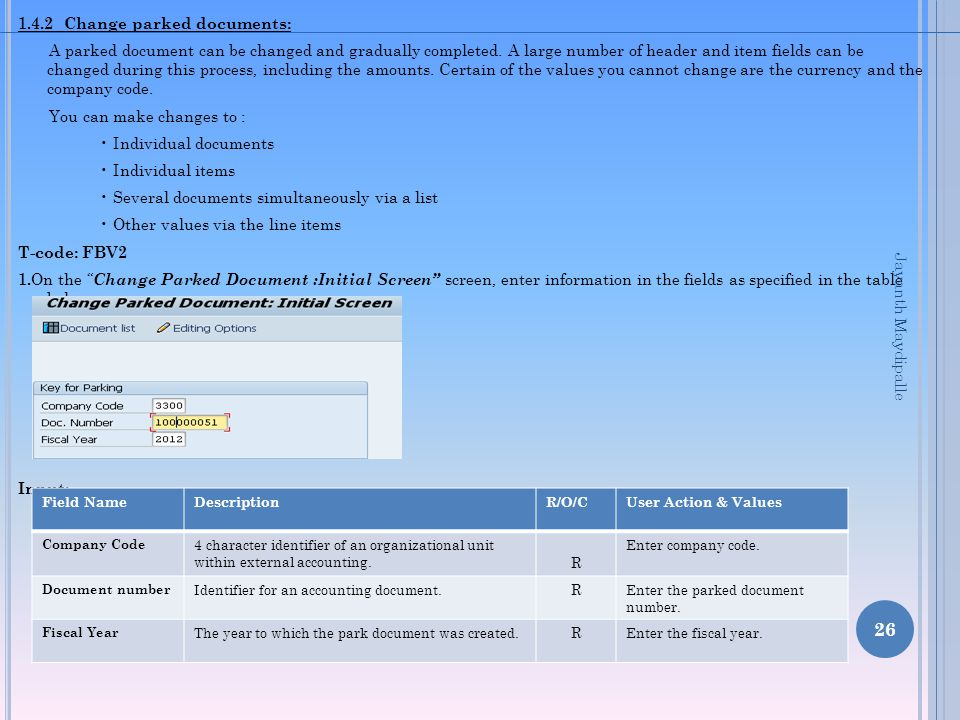 1.4.2 Change parked documents: A parked document can be changed and gradually completed. A large number of header and item fields can be changed durin