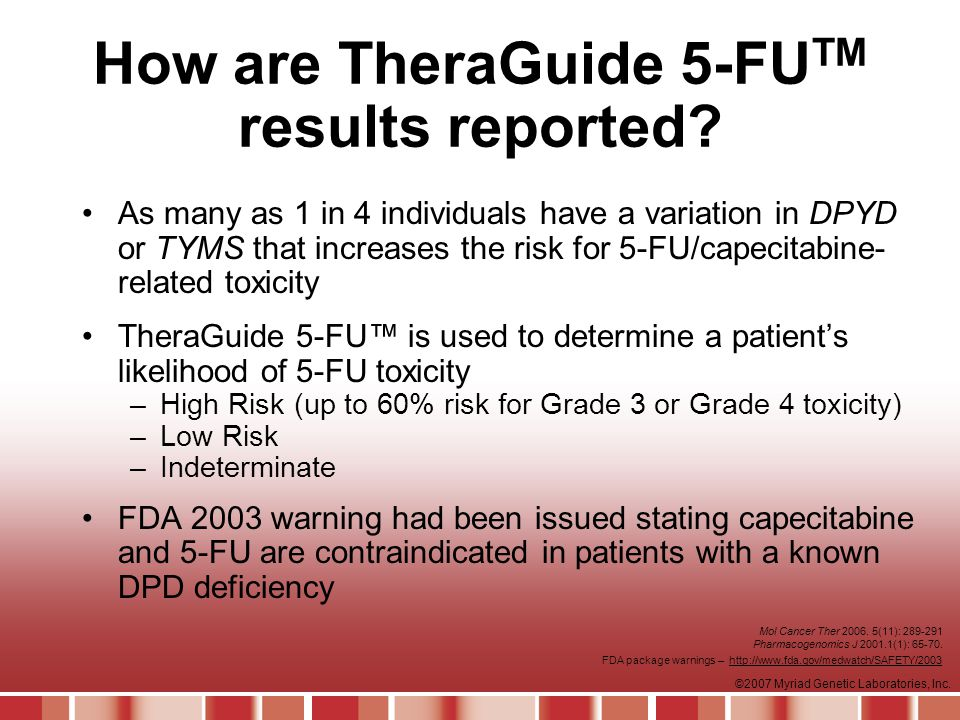 ©2007 Myriad Genetic Laboratories, Inc.How are TheraGuide 5-FU TM results reported.
