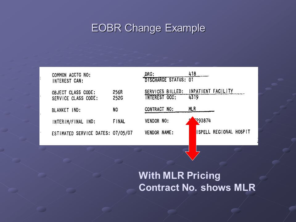 EOBR Change Example With MLR Pricing Contract No. shows MLR