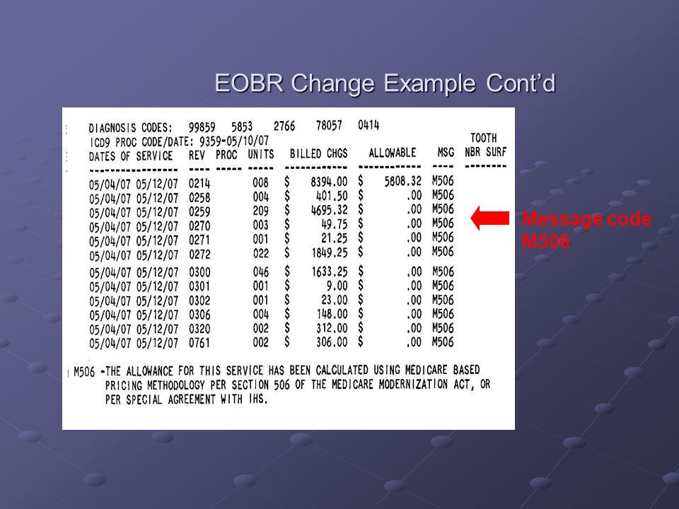 EOBR Change Example Cont'd Message code M506