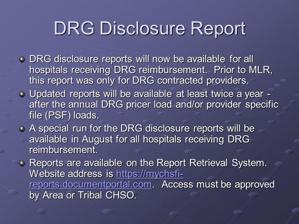 New DRG Disclosure Report Header Contract No.