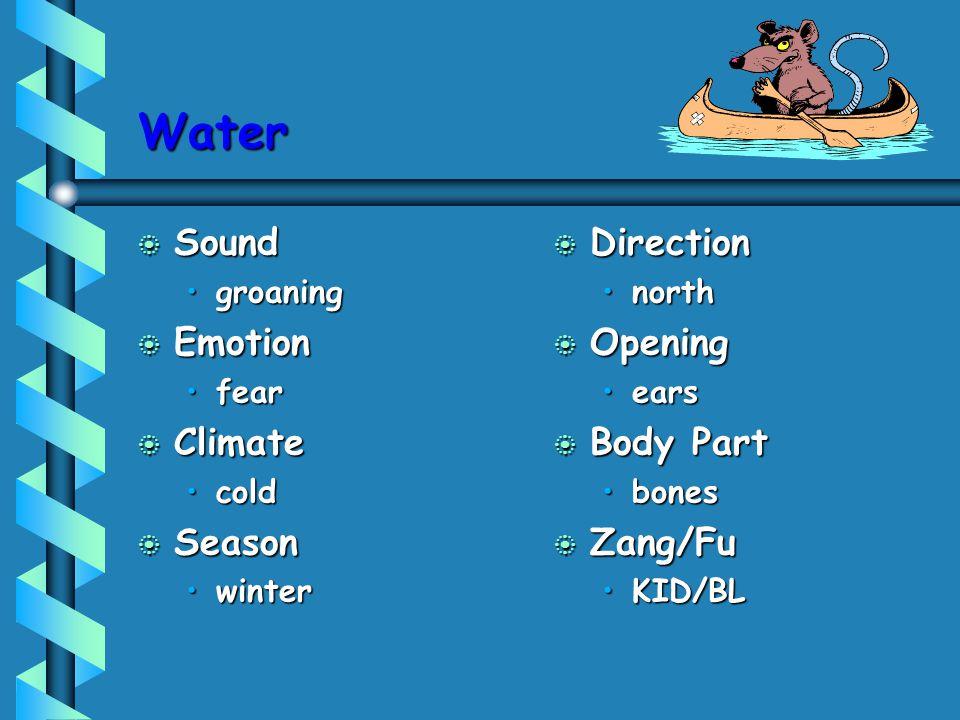 Water b Sound groaninggroaning b Emotion fearfear b Climate coldcold b Season winterwinter b Direction north b Opening ears b Body Part bones b Zang/F