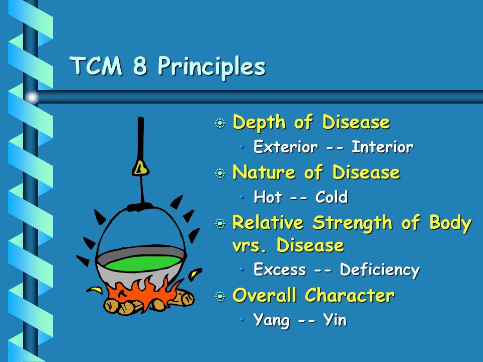 TCM 8 Principles b Depth of Disease Exterior -- Interior b Nature of Disease Hot -- Cold b Relative Strength of Body vrs. Disease Excess -- Deficiency