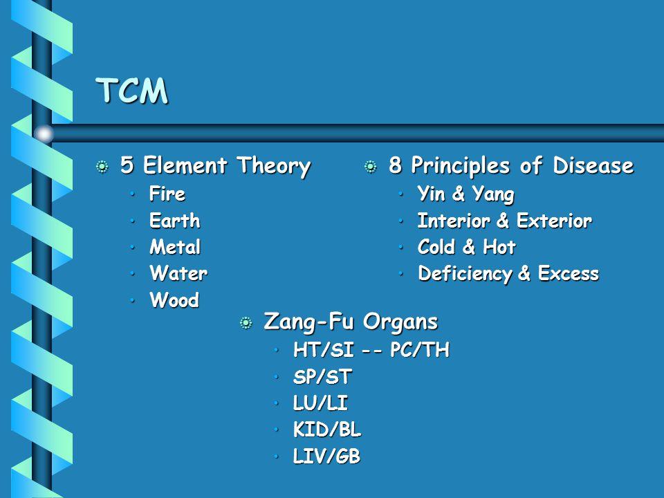 TCM b 5 Element Theory FireFire EarthEarth MetalMetal WaterWater WoodWood b 8 Principles of Disease Yin & Yang Interior & Exterior Cold & Hot Deficien