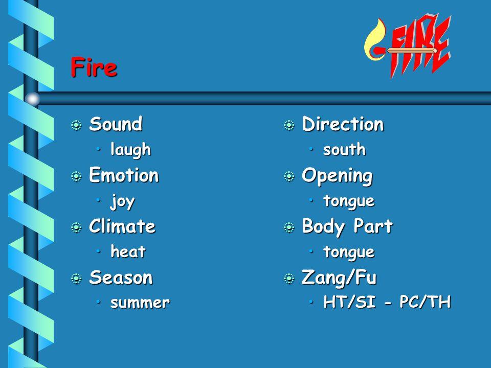 Fire b Sound laughlaugh b Emotion joyjoy b Climate heatheat b Season summersummer b Direction south b Opening tongue b Body Part tongue b Zang/Fu HT/S