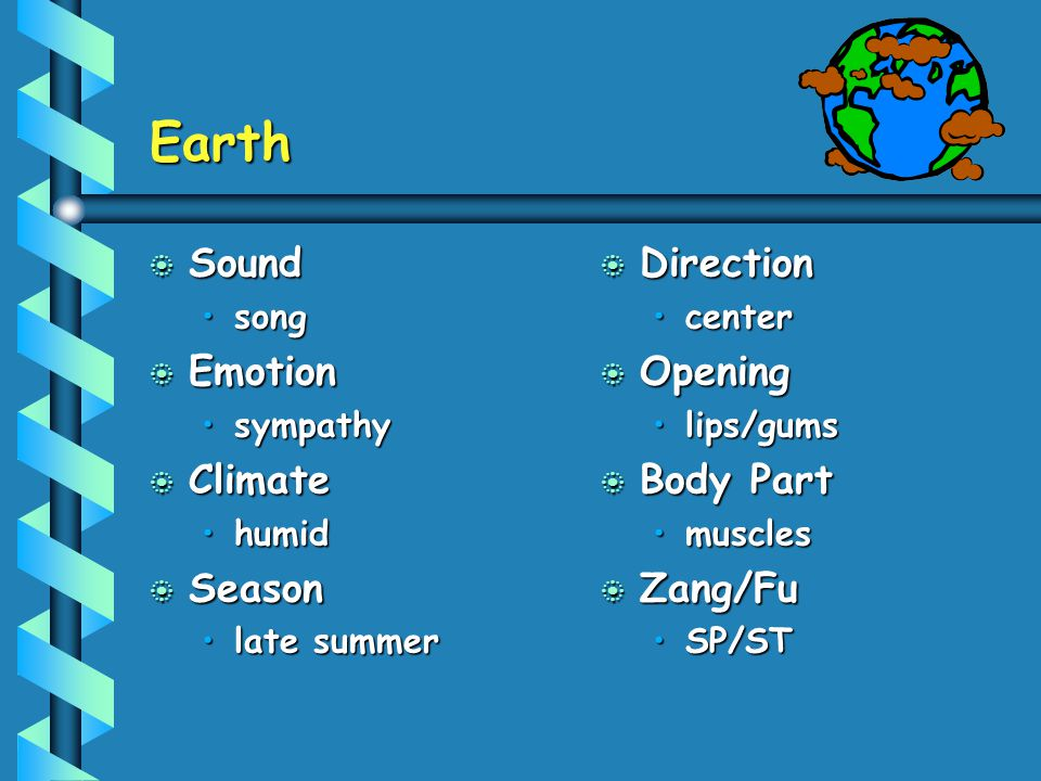 Earth b Sound songsong b Emotion sympathysympathy b Climate humidhumid b Season late summerlate summer b Direction center b Opening lips/gums b Body P