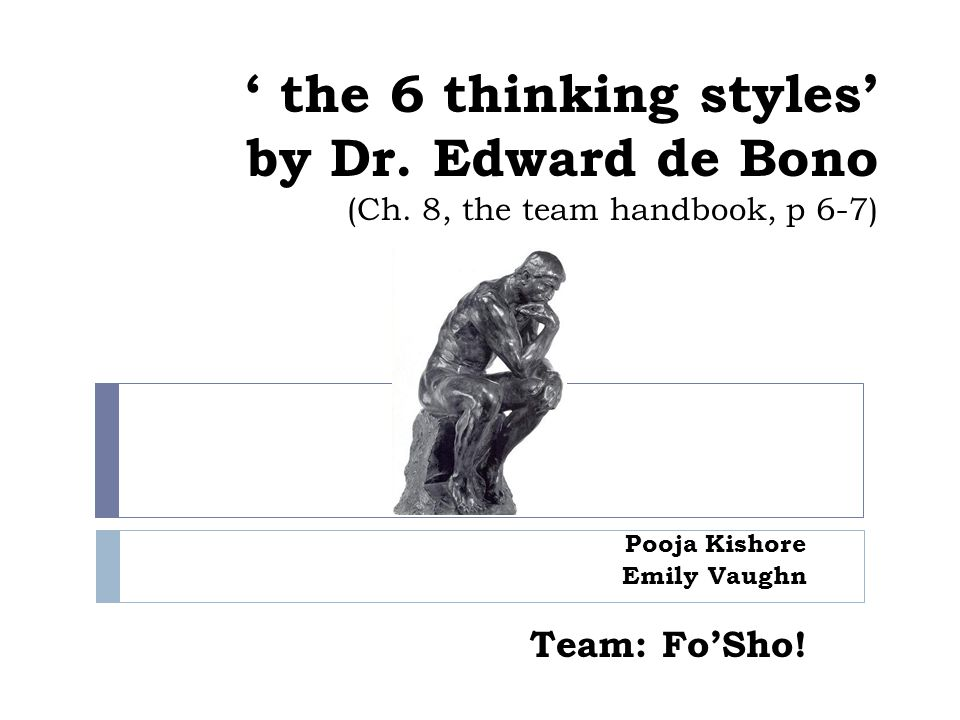 ' the 6 thinking styles' by Dr. Edward de Bono (Ch.