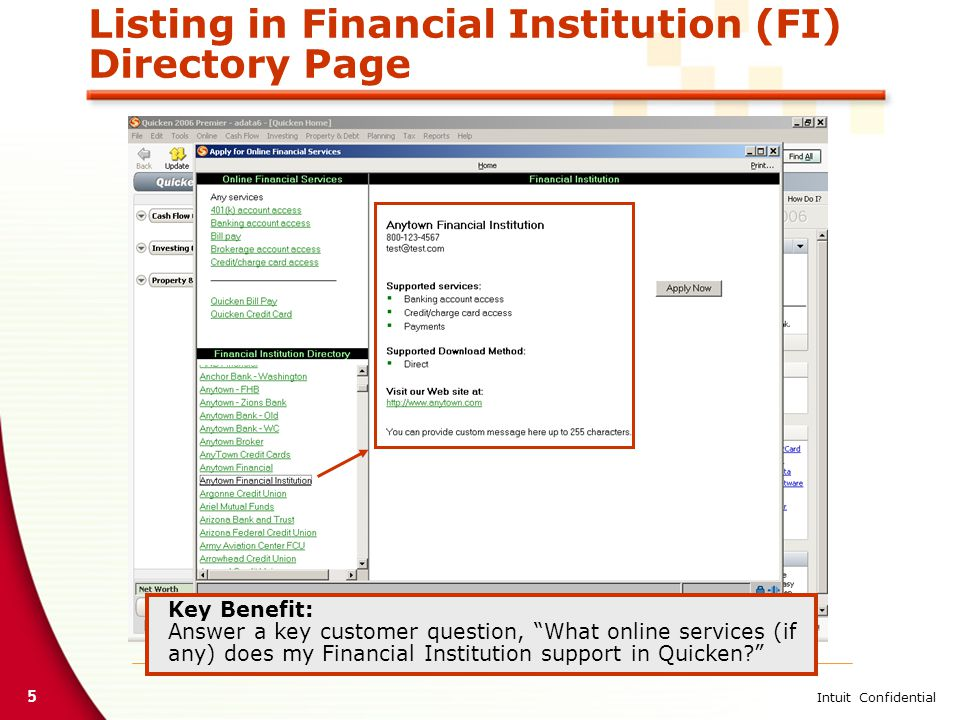 5 Intuit Confidential Listing in Financial Institution (FI) Directory Page Key Benefit: Answer a key customer question, What online services (if any) does my Financial Institution support in Quicken