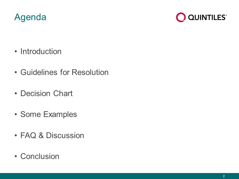 2 Agenda Introduction Guidelines for Resolution Decision Chart Some Examples FAQ & Discussion Conclusion