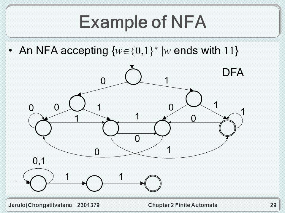 Jaruloj Chongstitvatana 2301379Chapter 2 Finite Automata29 Example of NFA An NFA accepting { w  {0,1}  |w ends with 11 } 0,1 11 0 00 1 1 1 0 1 1 0 10 1 0 DFA