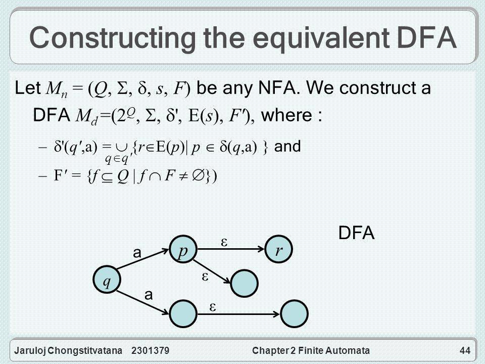 Jaruloj Chongstitvatana 2301379Chapter 2 Finite Automata44 Constructing the equivalent DFA Let M n = (Q, , , s, F) be any NFA.