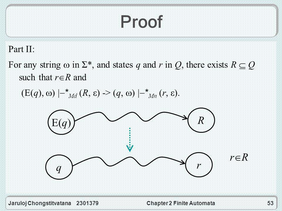 Jaruloj Chongstitvatana 2301379Chapter 2 Finite Automata53 Proof Part II: For any string  in Σ*, and states q and r in Q, there exists R  Q such that r  R and (E(q),  )  * Md (R, ε) -> (q,  )  * Mn (r, ε).