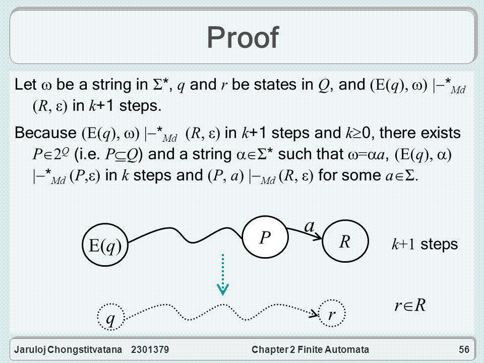 Jaruloj Chongstitvatana 2301379Chapter 2 Finite Automata56 Proof Let  be a string in Σ *, q and r be states in Q, and (E(q),  )  * Md (R, ε) in k +1 steps.