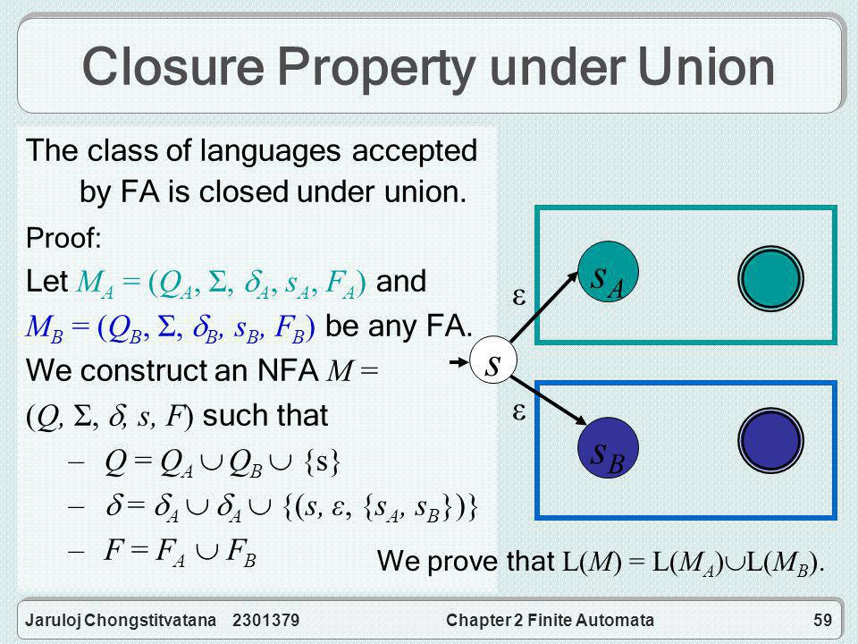 Jaruloj Chongstitvatana 2301379Chapter 2 Finite Automata59 Closure Property under Union The class of languages accepted by FA is closed under union.