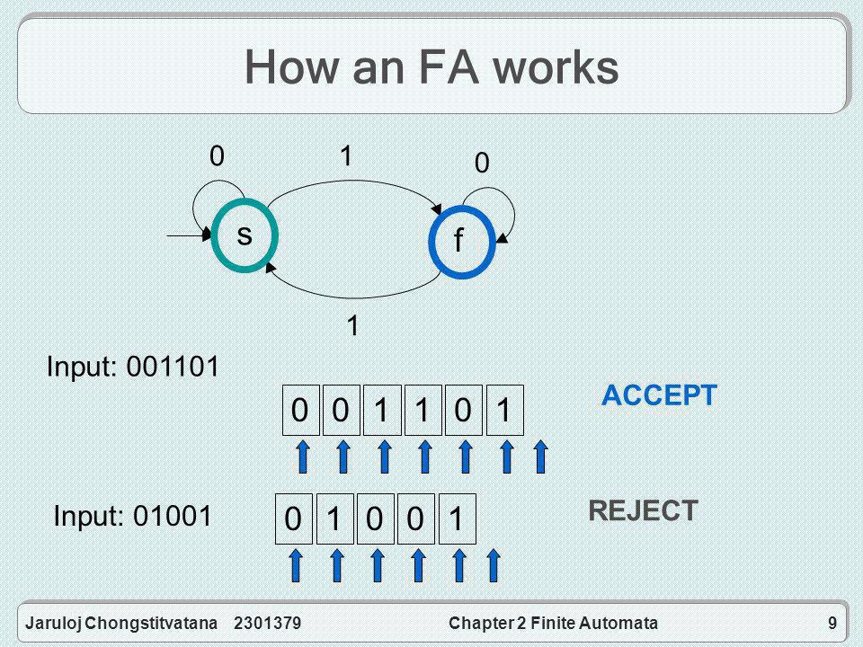 Jaruloj Chongstitvatana 2301379Chapter 2 Finite Automata9 How an FA works sf 01 0 1 Input: 001101 Input: 01001 00110101001 ACCEPT REJECT