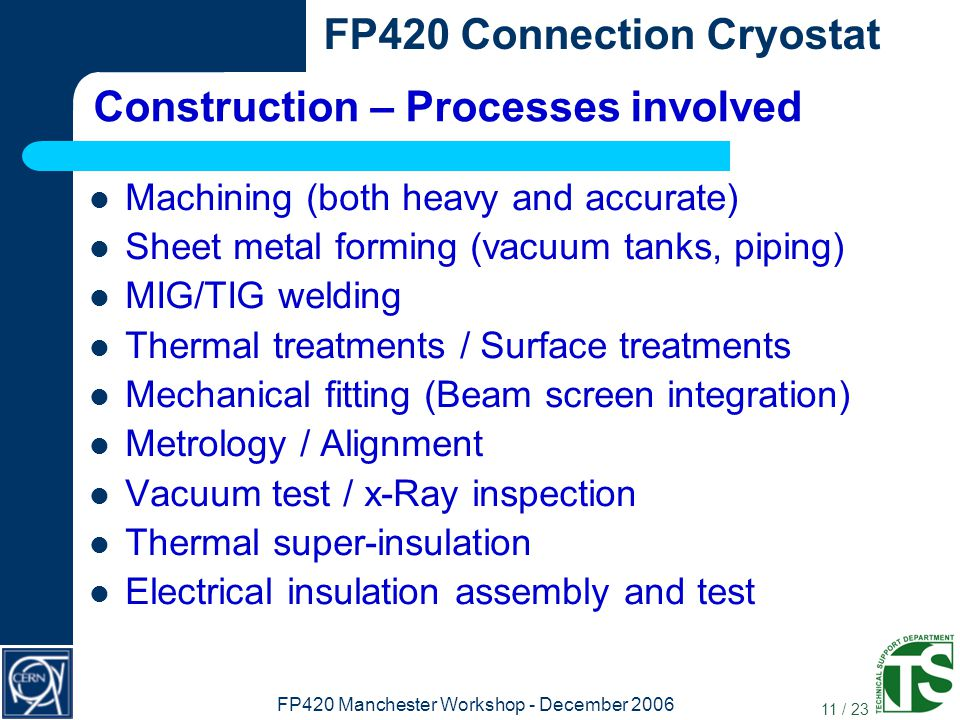 11 / 23 FP420 Connection Cryostat FP420 Manchester Workshop - December 2006 Construction – Processes involved Machining (both heavy and accurate) Sheet metal forming (vacuum tanks, piping) MIG/TIG welding Thermal treatments / Surface treatments Mechanical fitting (Beam screen integration) Metrology / Alignment Vacuum test / x-Ray inspection Thermal super-insulation Electrical insulation assembly and test