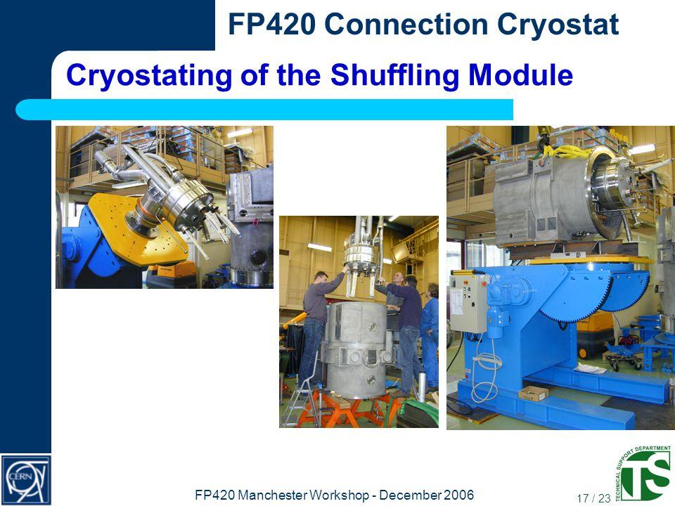 17 / 23 FP420 Connection Cryostat FP420 Manchester Workshop - December 2006 Cryostating of the Shuffling Module