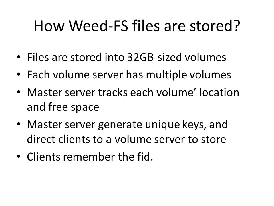 Future work Tools to manage the file system