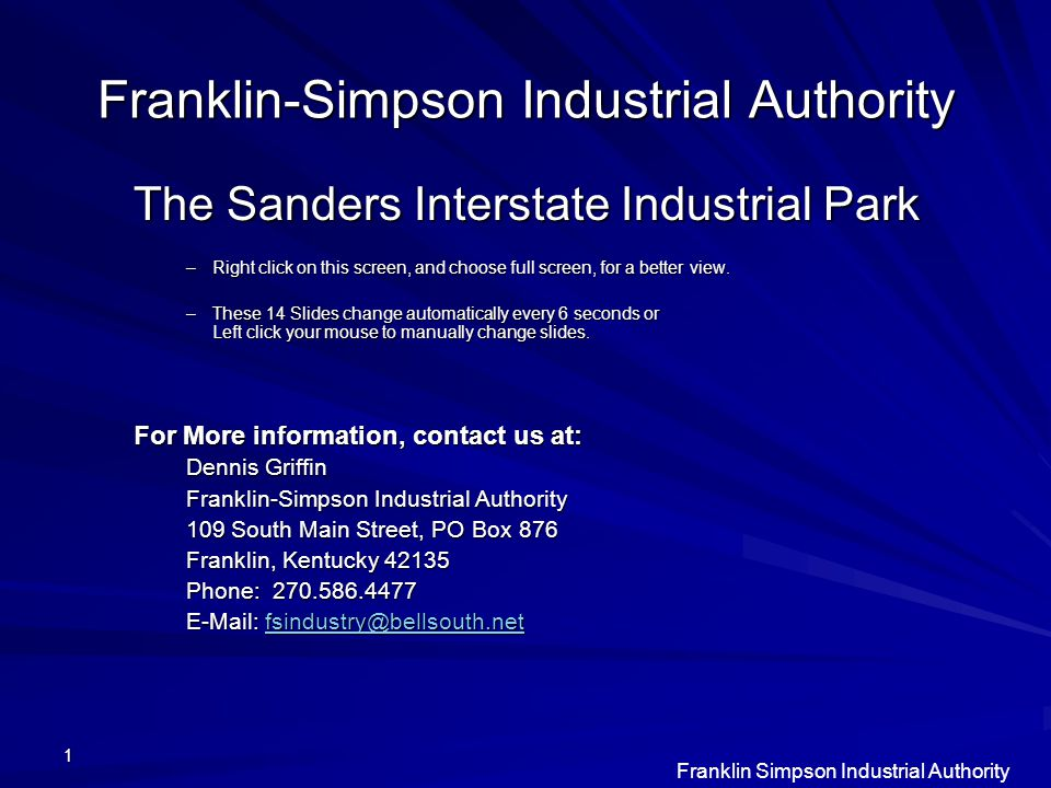 Franklin Simpson Industrial Authority 12