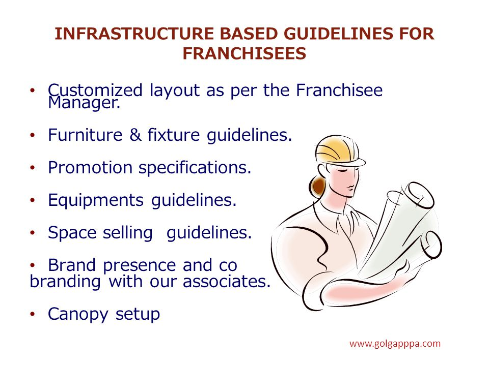 INFRASTRUCTURE BASED GUIDELINES FOR FRANCHISEES Customized layout as per the Franchisee Manager. Furniture & fixture guidelines. Promotion specificati