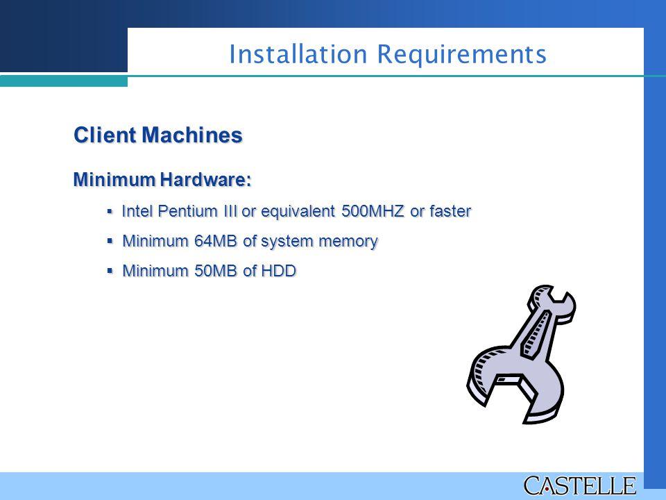 Client Machines Minimum Hardware:  Intel Pentium III or equivalent 500MHZ or faster  Minimum 64MB of system memory  Minimum 50MB of HDD