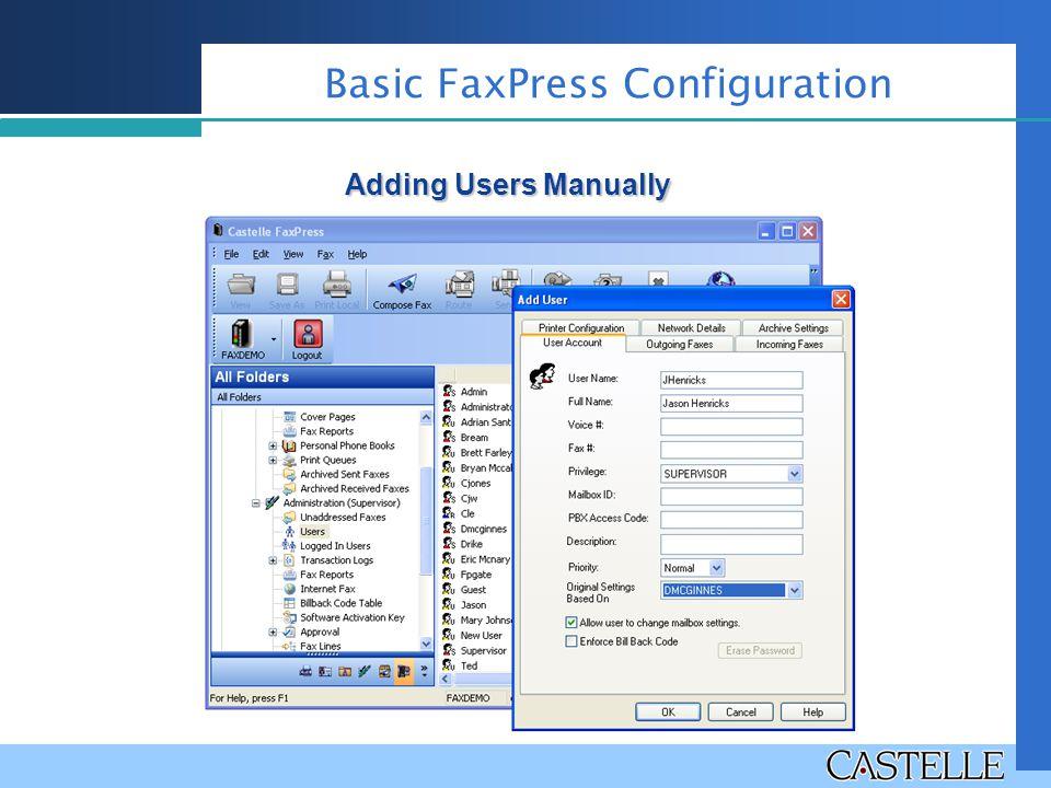 Adding Users Manually