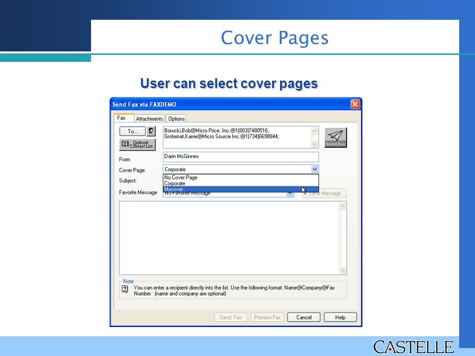 Cover Pages User can select cover pages