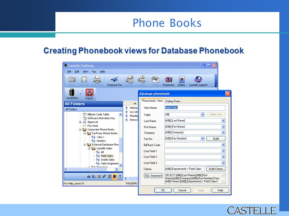 Creating Phonebook views for Database Phonebook