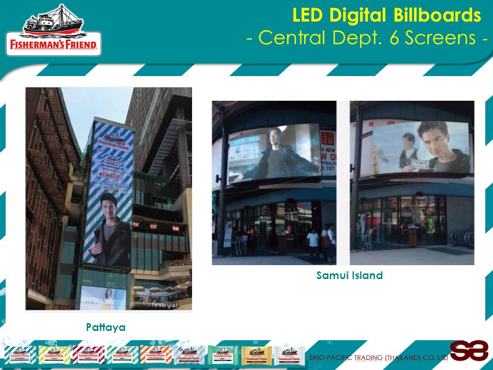 Pattaya Samui Island LED Digital Billboards - Central Dept. 6 Screens -