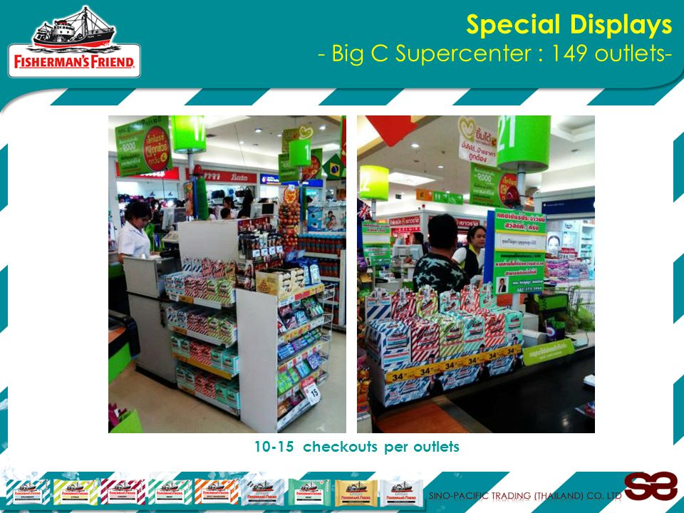 Special Displays - Big C Supercenter : 149 outlets- 10-15 checkouts per outlets