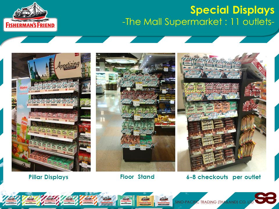 Special Displays -The Mall Supermarket : 11 outlets- Pillar Displays Floor Stand 6-8 checkouts per outlet