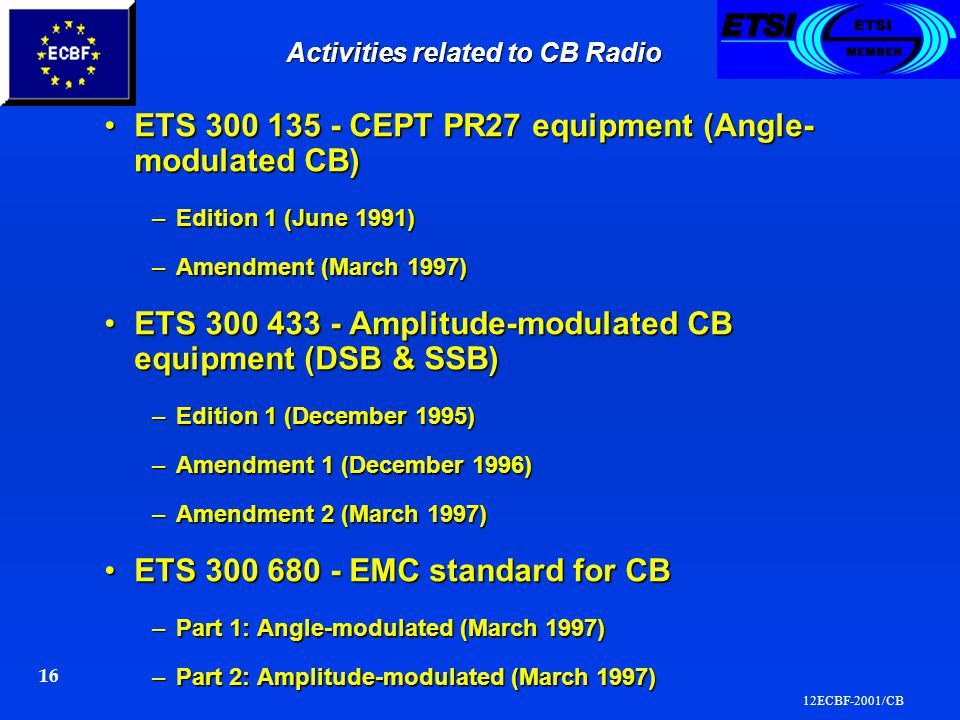 12ECBF-2001/CB 16 Activities related to CB Radio ETS 300 135 - CEPT PR27 equipment (Angle- modulated CB)ETS 300 135 - CEPT PR27 equipment (Angle- modulated CB) –Edition 1 (June 1991) –Amendment (March 1997) ETS 300 433 - Amplitude-modulated CB equipment (DSB & SSB)ETS 300 433 - Amplitude-modulated CB equipment (DSB & SSB) –Edition 1 (December 1995) –Amendment 1 (December 1996) –Amendment 2 (March 1997) ETS 300 680 - EMC standard for CBETS 300 680 - EMC standard for CB –Part 1: Angle-modulated (March 1997) –Part 2: Amplitude-modulated (March 1997)