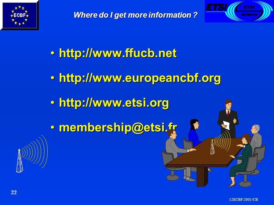 12ECBF-2001/CB 22 Where do I get more information .