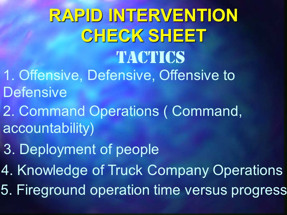 RAPID INTERVENTION CHECK SHEET Tactics 1. Offensive, Defensive, Offensive to Defensive 2.