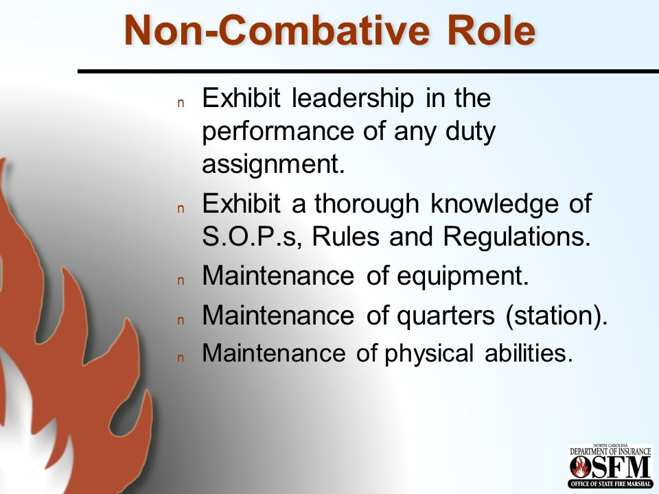 Non-Combative Role n Exhibit leadership in the performance of any duty assignment.