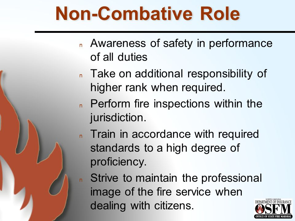 Non-Combative Role n Awareness of safety in performance of all duties n Take on additional responsibility of higher rank when required.