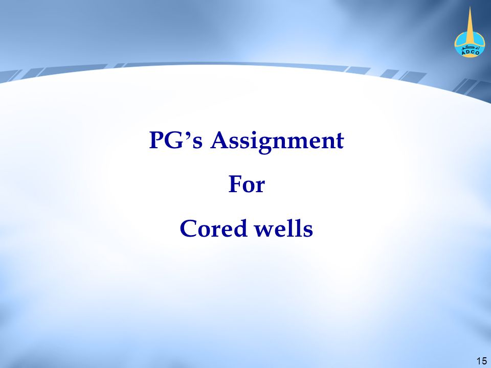 15 PG ' s Assignment For Cored wells