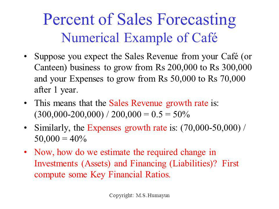 Copyright: M.S. Humayun Percent of Sales Forecasting Numerical Example of Café Suppose you expect the Sales Revenue from your Café (or Canteen) busine