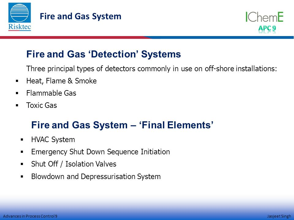 Advances in Process Control 9 Jasjeet Singh Fire and Gas System Fire and Gas 'Detection' Systems Three principal types of detectors commonly in use on off-shore installations:  Heat, Flame & Smoke  Flammable Gas  Toxic Gas Fire and Gas System – 'Final Elements'  HVAC System  Emergency Shut Down Sequence Initiation  Shut Off / Isolation Valves  Blowdown and Depressurisation System
