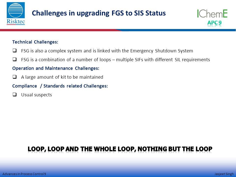 Advances in Process Control 9 Jasjeet Singh Challenges in upgrading FGS to SIS Status Technical Challenges:  FSG is also a complex system and is linked with the Emergency Shutdown System  FSG is a combination of a number of loops – multiple SIFs with different SIL requirements Operation and Maintenance Challenges:  A large amount of kit to be maintained Compliance / Standards related Challenges:  Usual suspects