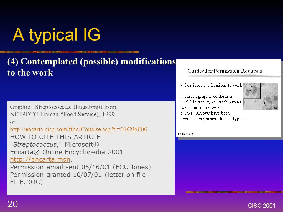 CISO 2001 20 A typical IG (4) Contemplated (possible) modifications to the work Graphic: Streptococcus, (bugs.bmp) from NETPDTC Traman Food Service), 1999 or http://encarta.msn.com/find/Concise.asp ti=03C96000 HOW TO CITE THIS ARTICLE Streptococcus, Microsoft® Encarta® Online Encyclopedia 2001 http://encarta.msn.