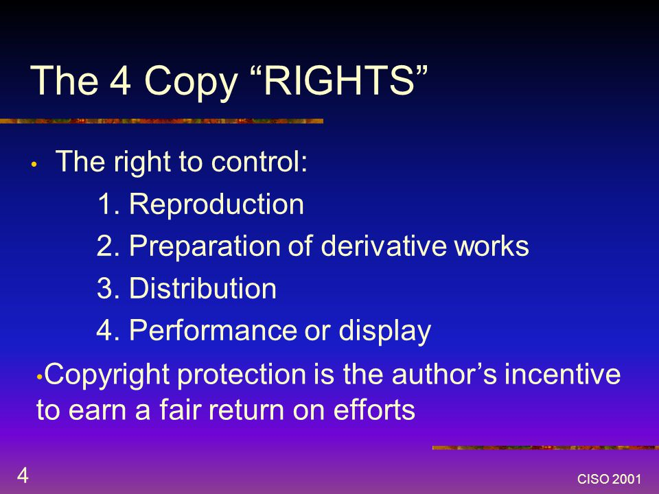 CISO 2001 4 The 4 Copy RIGHTS The right to control: 1.