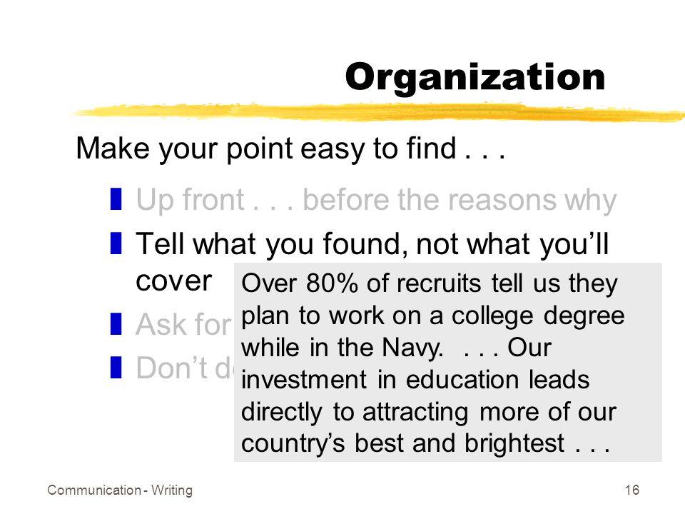 Communication - Writing16 Organization zUp front...