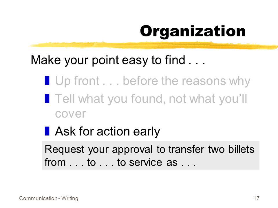 Communication - Writing17 Organization zUp front...
