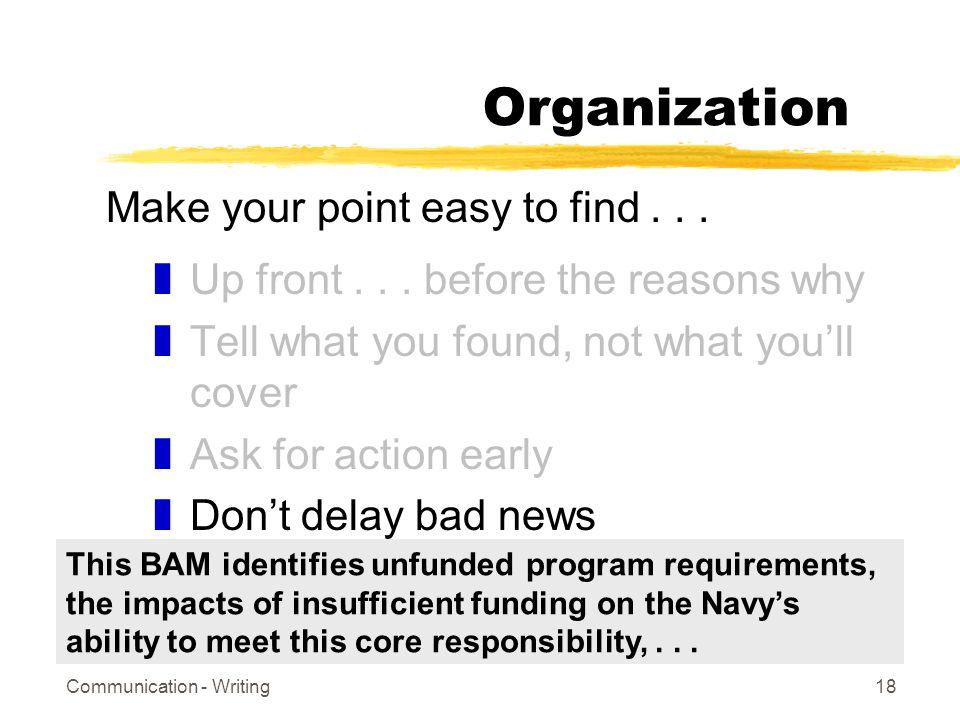 Communication - Writing18 Organization zUp front...