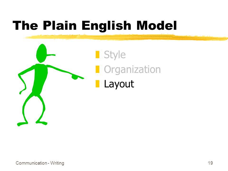 Communication - Writing19 The Plain English Model zStyle zOrganization zLayout