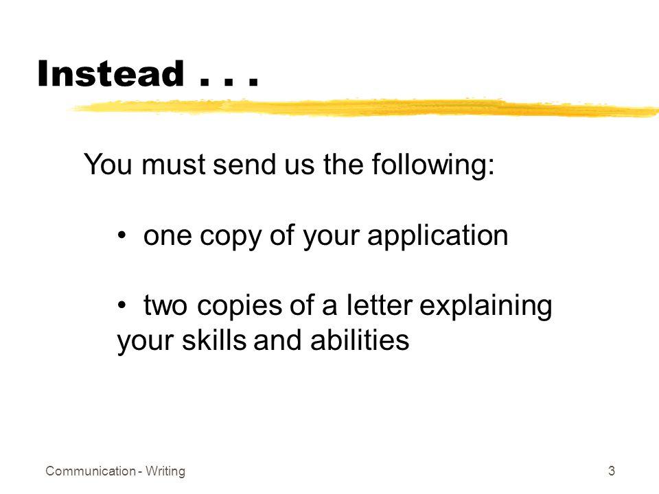 Communication - Writing3 Instead...